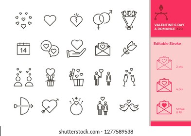 20 icons of love and romance for occasions like wedding, valentine's day, datings, honeymoon etc. In vector format with editable stroke for your own needs