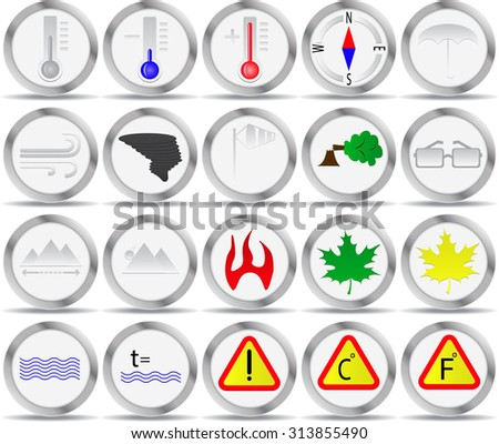 20 Icons Weather Signs Circle Temperature Stock Vector Royalty Free