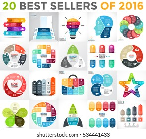 20 infographics best sellers of 2016. Business diagrams, arrows graphs, startup info graphic presentations, idea charts. Data options with 3, 4, 5, 6, 7, 8 parts, steps, processes. Bulb, brain, health