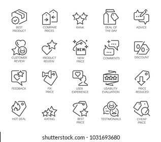 20 linear icons for online or offline stores, mobile apps and messengers. Promotion, marketing and advertising line signs. Sale and review concept. Vector illustration isolated on white background