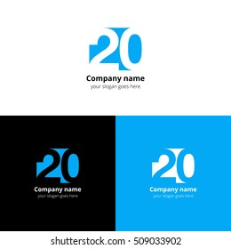 20 logo icon flat and vector design template. Monogram numbers two and zero. Creative vision concept twenty logotype, elements, sign, symbol for card, brand.