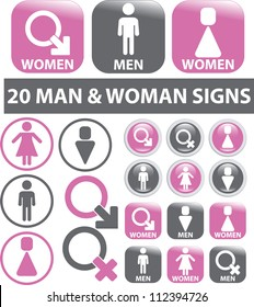 20 man & woman signs, icons set, vector