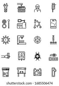 20 medical laboratory outline icons set. Concept hospital lab icon design vector illustration.