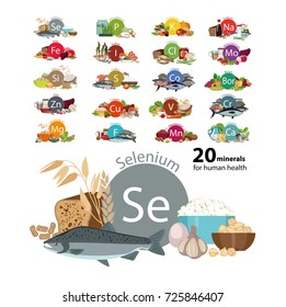 """20 minerals for human health"" series. Natural organic products rich with a trace substance selenium. Bases of a healthy nutrition."