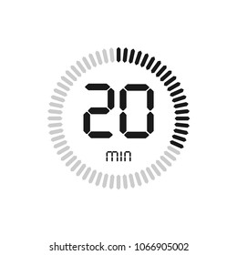 The 20 minutes, stopwatch vector icon, digital timer. clock and watch, timer, countdown symbol.
