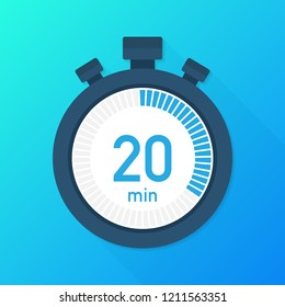 The 20 minutes, stopwatch vector icon. Stopwatch icon in flat style, timer on on color background.  Vector stock illustration.