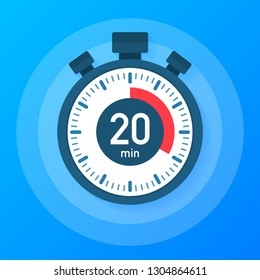 The 20 minutes, stopwatch vector icon. Stopwatch icon in flat style, 20 minutes timer on on color background. Vector stock illustration.