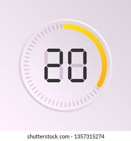 The 20 minutes, stopwatch vector icon, digital timer. Vector digital count down circle board with circle time pie diagram. Watch outline style design, designed for web and app.