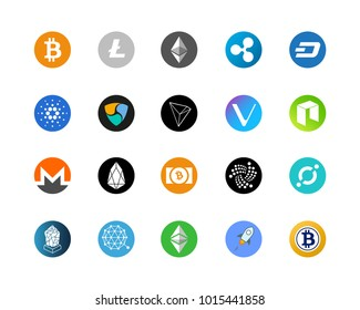 20 most popular cryptocurrency logo set - bitcoin, litecoin, ethereum, ripple and other.