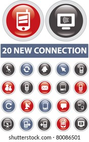 20 new connection icons, signs, vector illustrations