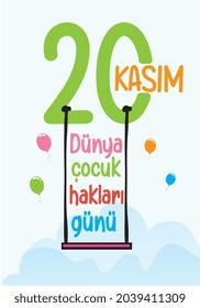 20 november children's rights day. turkish: 20 kasim cocuk haklari gunu