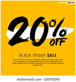 20% OFF Black Friday Sale (Promotional Poster Design Vector Illustration) With Text Box Template