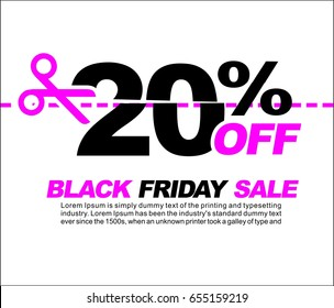 20% OFF Black Friday Sale, Promotional Poster or Sticker Design Vector Illustration