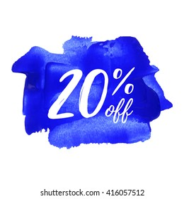 20% OFF card, poster, logo, lettering, words, text written on blue painted background vector illustration
