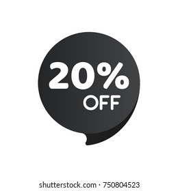 20% OFF Discount offer price tag. Special offer sale black label.
