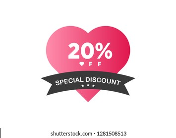20% off discount promotion sale Brilliant poster, banner, ads. Valentine Day Sale, holiday discount tag, special offer, 20% off, vector illustration - Vector