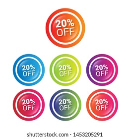 20% off - glossy labels or tags. circle sticker with gradient color.trendy color. modern design.set
