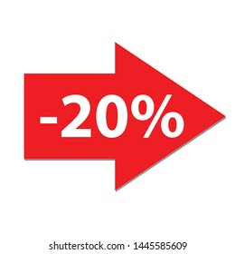20% off Percent Discount Sign, Discount offer price label,  text 20 percent off RED ICON