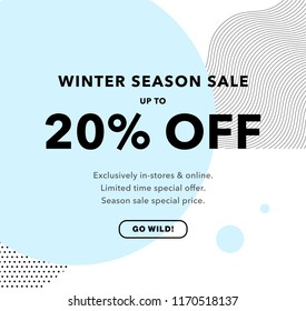 20% OFF Price Discount. Winter Season Sale. Promo banner 20% Sale design template. Trendy background. Flyer, poster, card, label, banner design. Vector illustration EPS10.