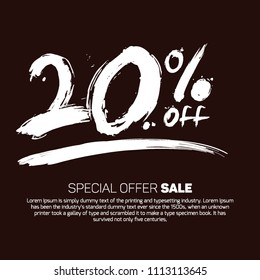 20% Off Promotional Special Offer Sale Design Vector Illustration Offers Mobile Sale Fashion Electronics Home Appliances Books Jewelry Home Beauty Discount Smoky Black Color