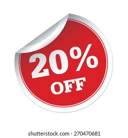 20 % off red vector sticker