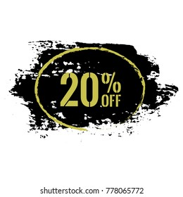20% OFF Sale Discount Banner. Special offer black friday sale label. Vector modern 20 percent off sticker Illustration. Isolated paint brush stroke background. Discount offer price tag.