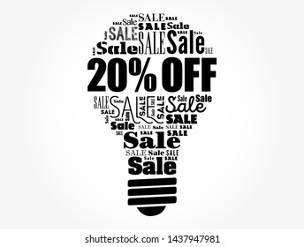 20% OFF Sale light bulb word cloud collage, business concept background