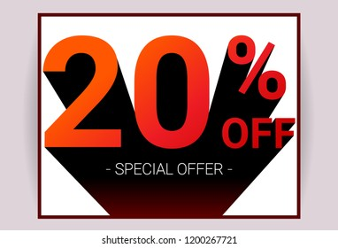 20% OFF Sale. Red color 3D text and black shadow on white background design. Discount special offer promo advertising card concept vector illustration.