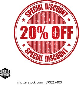 20% off Special discount grunge stamp.Vector.