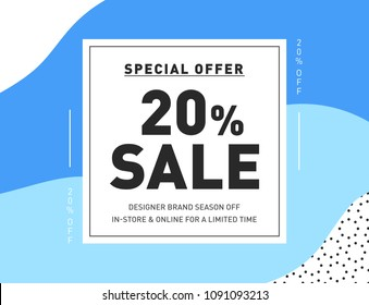 20% OFF Special Offer Fashion Sale Banner. Summer Discount Promo Coupon. Season Sale Promotion Coupon Trendy Design Template. Vector Illustration.