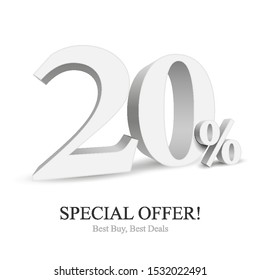 20% Off Special Offer Silver 3D Digits Banner, Template Twenty Percent. Sale, Discount. Grayscale, Metal, Gray, Glossy Numbers. Illustration Isolated On White Background. Ready For Your Design. Vector