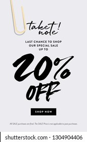 20% Off Special Promo Price Discount Poster. Discount 20% Sale Promotion Coupon.