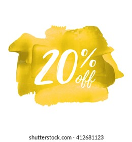 20% OFF vector text, logo, card, poster, word, written on painted yellow background