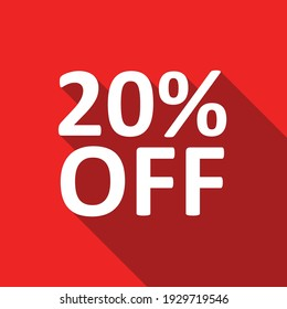 20% off white text on a red background