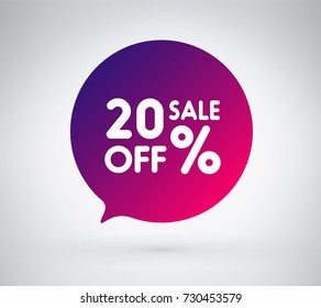 20% offer label sticker, sale discount price tag. Vector illustration tag, label design with colorful gradient or color transition for your trendy design discount campaign promotion in any occasional.