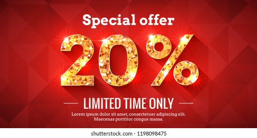 20 Percent Bright Red Sale Background with golden glowing numbers. Lettering - Special offer for limited time only
