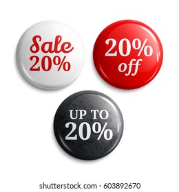20 percent discount on glossy buttons or badges. Product promotions. Vector.