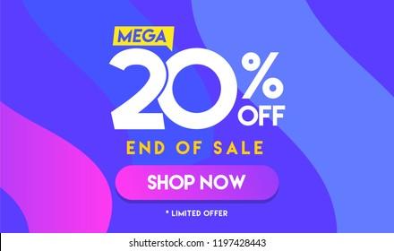 20 percent Mega Discount sale Colorful minimal gradient vector illustration banner