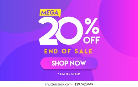 20 percent Mega Discount sale Colorful minimal gradient blue pink vector illustration banner