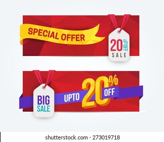 20 Percent Off Discount promotion advertising banners set isolated vector illustration