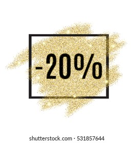 20 percent off discount promotion tag. Promo sale label. New Year, Christmas offer. Gold sale background for flyer, poster, shopping, card, web, header. Vector gold glittering illustration.