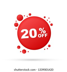 20 percent  OFF Sale Discount Banner. Discount offer price tag. 20 percent discount promotion flat icon with long shadow. Vector stock illustration.