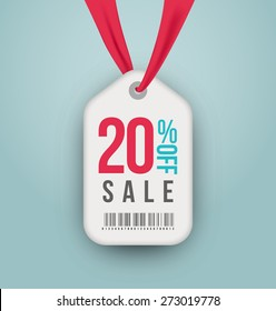 20 percent off sale price vector label. Isolated from background