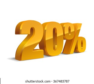 20% percent off, sale white background, golden-yellow object 3D. Eps10 Vector.