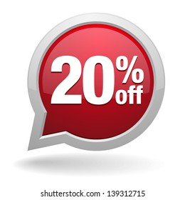20 percent off speech bubble