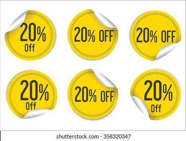 20 percent off yellow paper sale stickers