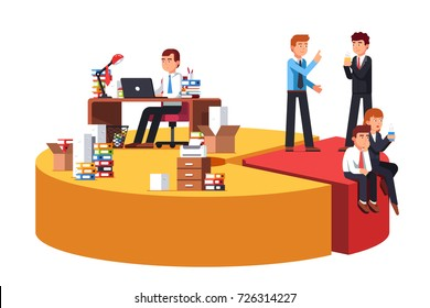 20 percent of people doing 80 percent of work metaphor. Pareto principle concept. Giant pie chart with business man talking and working. Flat style vector illustration isolated on white background.