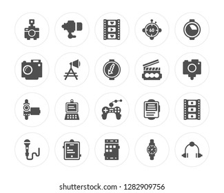 20 Photo Camera, Objective, Mobile Phone, Tablet, Microphone, Quarter, Clapperboard, Joypad, Handy Cam, Reflector modern icons on round shapes, vector illustration, eps10, trendy icon set.
