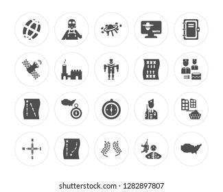 20 Planet grid circular, Militar man with protection, Two branches of frame, Military strategy sketch modern icons on round shapes, vector illustration, eps10, trendy icon set.