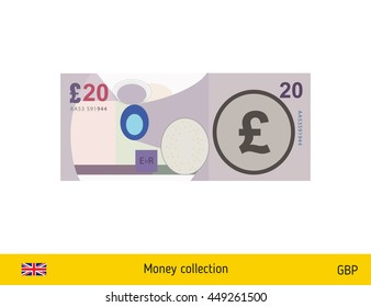 20 pound banknote illustration.